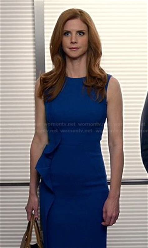 Suits Wardrobe Donna wornontv donna s blue dress with side ruffle on suits rafferty clothes and wardrobe