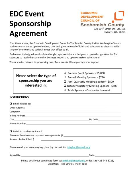 28 sponsorship agreement form template 10 best