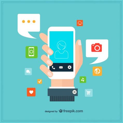application design vector hand holding a smartphone surrounded by apps vector free