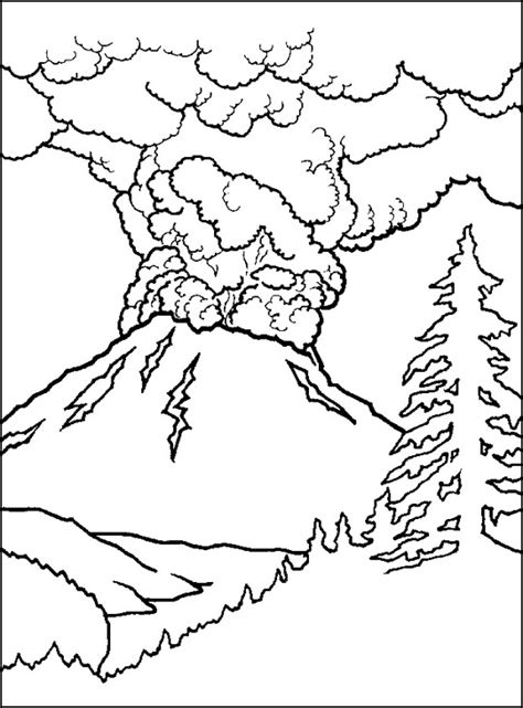 coloring page of volcano free printable volcano coloring pages for kids