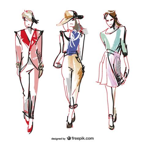 Clothes Vector Design Free Download | hand painted fashion women vector free download