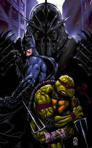 batman and raphael vs shredder tmnt crossover by