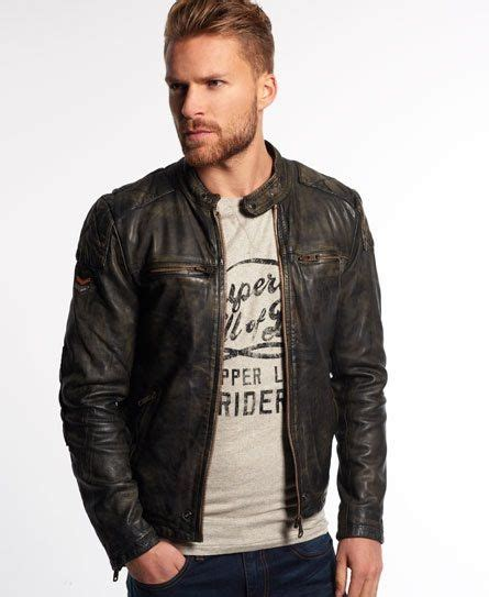 Superdry Black Leather List Grey superdry real trials leather jacket wish list