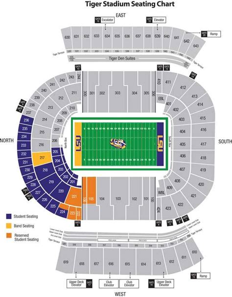 lsu student section tiger stadium what section number is the student section and visitor