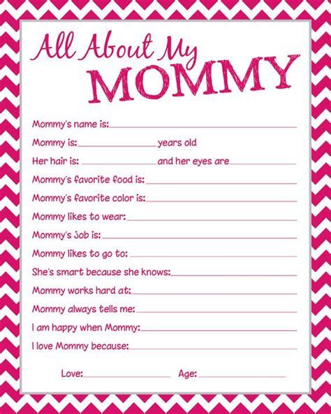 printable mother s day questionnaire mommy questionnaire great to have the kids fill by
