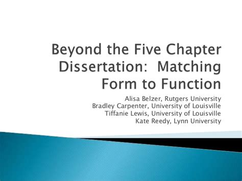 dissertation chapter 5 beyond the five chapter dissertation