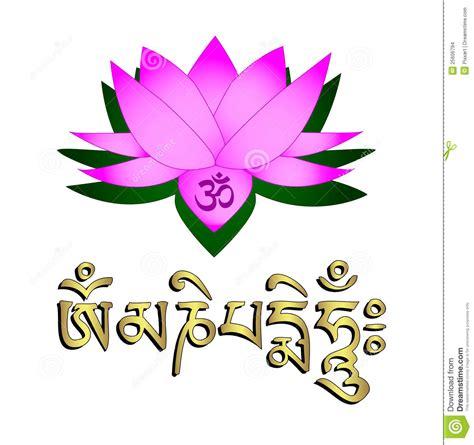 fiore di loto simbolo fiore di loto simbolo om e mantra illustrazione