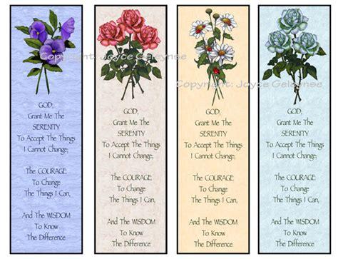 printable poetry bookmarks printable bookmarks flowers serenity prayer instant