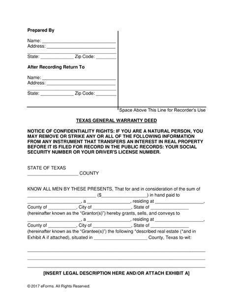 warranty deed form free general warranty deed form word pdf