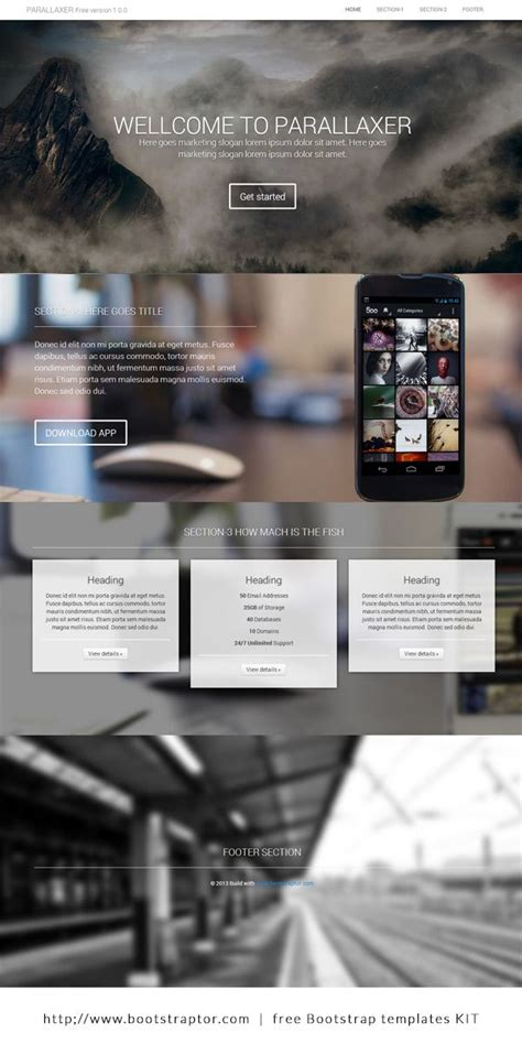 templates bootstrap parallax one page parallax template loyout build on twitter