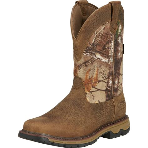 mens insulated boots ariat conquest pull on h20 insulated 400g boot s