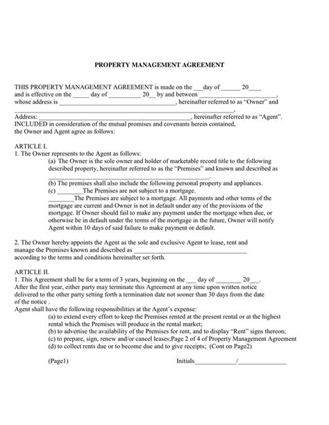 property management agreements property management agreement in word and pdf formats