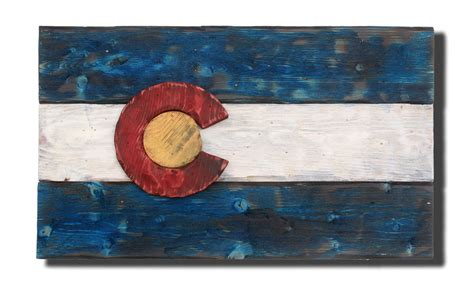 colorado flag distressed wood wooden vintage art