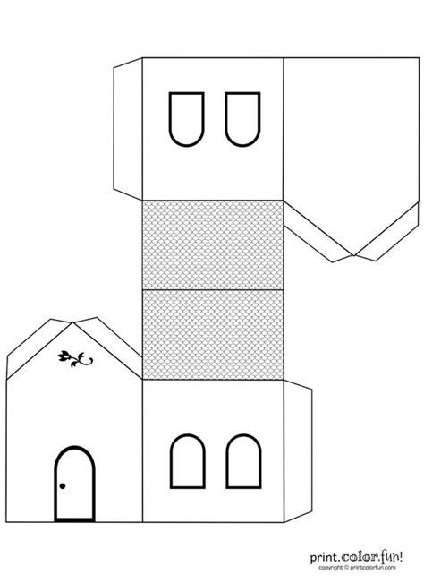 printable house template for house cutout craft to color print color free