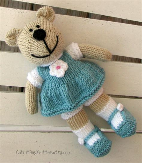 knit stuffed animals toddler knit teddy stuffed by cotuitbayknitter