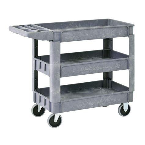 plastic shelves home depot sandusky heavy duty plastic utility cart 3 shelves the
