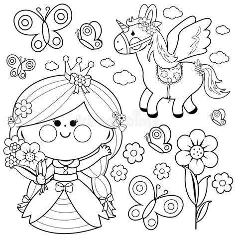 faerie garden spring colouring princess fairy tale set coloring page stock vector illustration of unicorn page 94840773