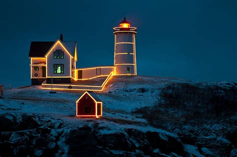 Christmas Lights Home Decor by Christmas At Nubble Light Photograph By Paul Mangold