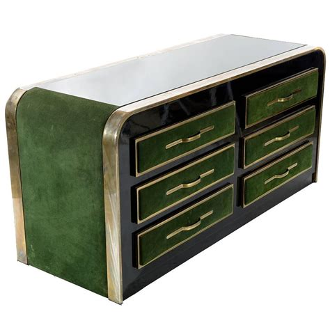 italian 1970s suede and metal chest of drawers for sale at