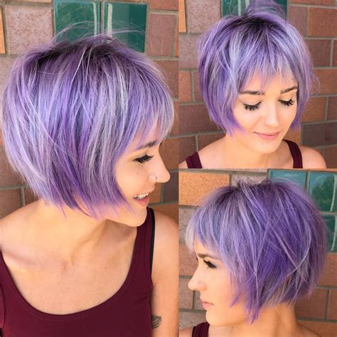 shagy short with silver highlights haistyles women s undone shaggy bob with fringe bangs and lilac