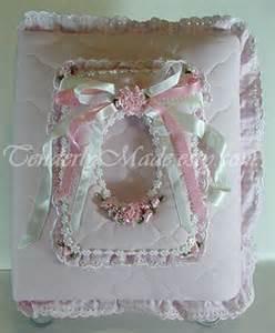 Handmade Baby Albums - pretty in pink fabric handmade baby photo album