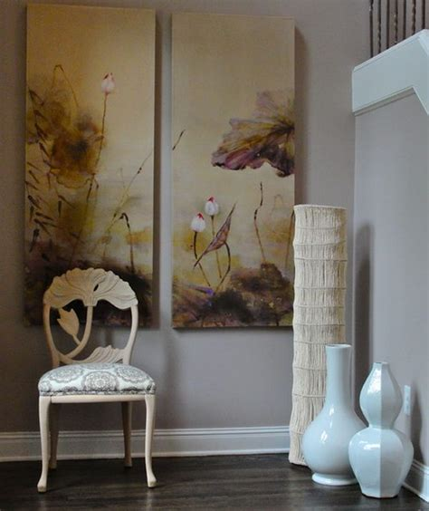 large white floor vases combine with existing decor and
