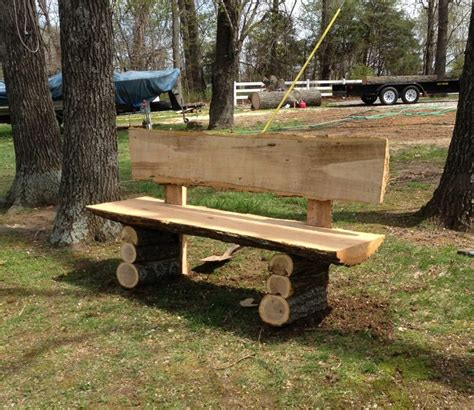 homemade log bench country log slab bench log wood projects homemade