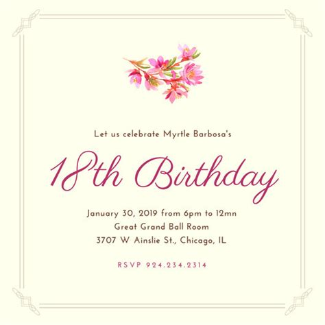 18th invitation templates 18th birthday invitation templates canva