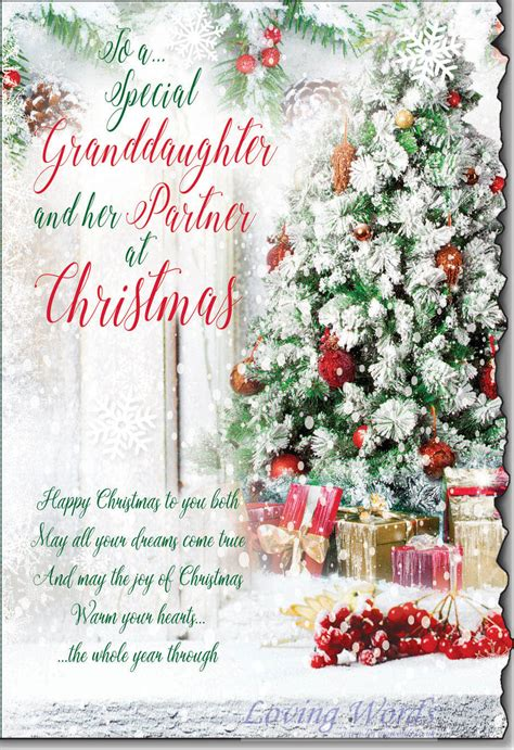granddaughter  partner  christmas greeting cards  loving words