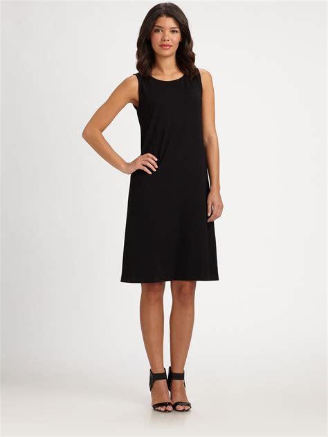 I Jersey Dresses by Eileen Fisher Sleeveless Jersey Shift Dress In Black Lyst