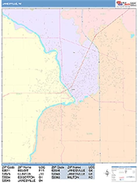 zip code map janesville wi janesville wisconsin wall map color cast style by marketmaps
