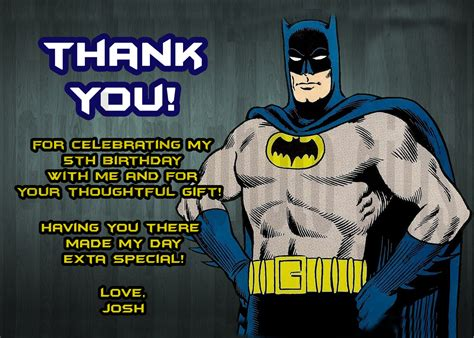 Batman Thank You Cards Printable