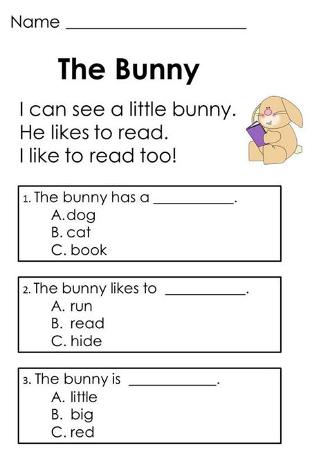 reading comprehension test beginner easter reading passages addition word problems word