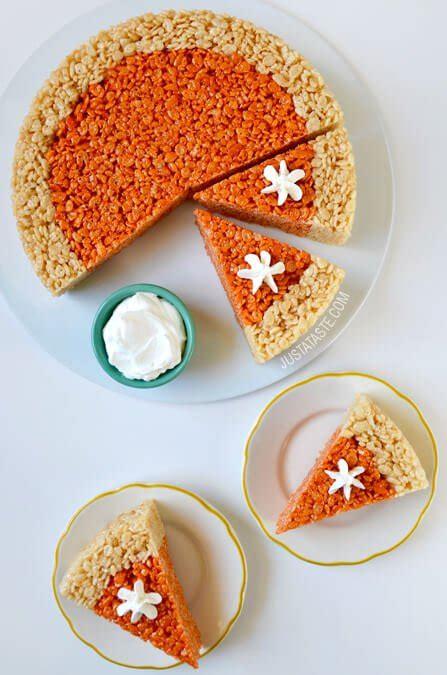 treat recipes pumpkin pumpkin pie rice krispies treats thanksgiving recipe diy crafts