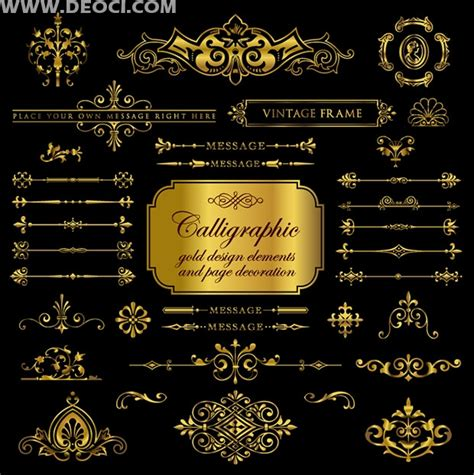 european gold pattern vector gold vintage european pattern set eps file to download
