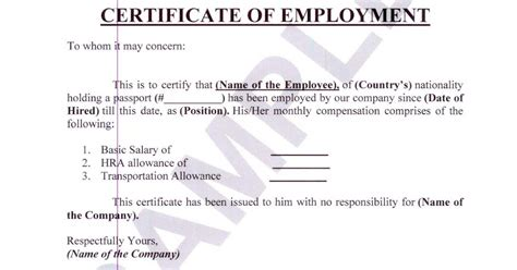 certification of employment template money business travel and pleasure certificate