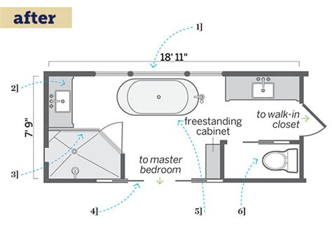Narrow Master Bathroom Floor Plans | floor plan after more usable space a master bath long on luxury this old house