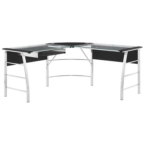 L Shaped Glass Top Computer Desk Glass Top L Shaped Computer Desk In Black 9105396com