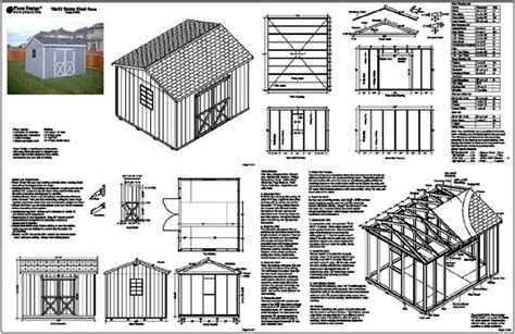 gable storage shed plans building blueprints ebay