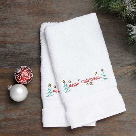 shop embroidered merry christmas  stars holiday turkish cotton hand towels set