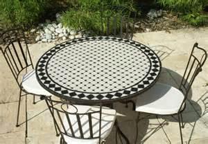 table jardin mosaique ronde 110cm c 233 ramique blanche