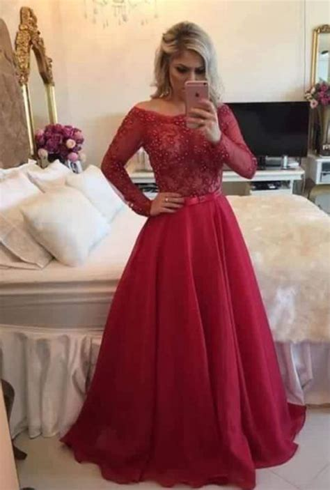 pretty red   lace long sleeve prom dressformal gown