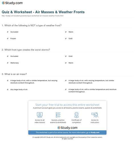 Air Masses Worksheet by Air Masses And Fronts Worksheet Lesupercoin Printables