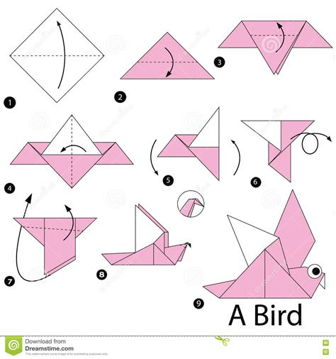 How To Make Bird With Origami - step by step how to make origami a bird