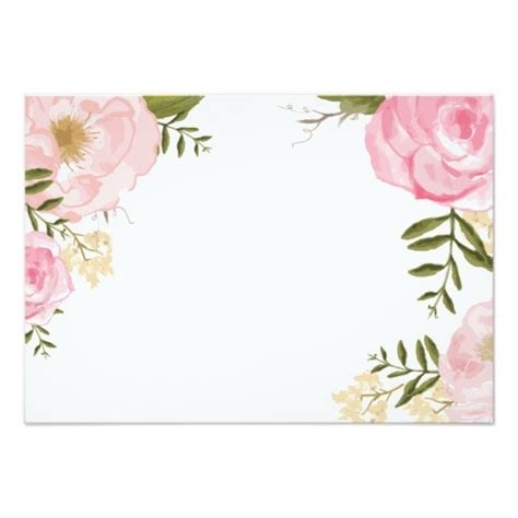 gold and pink flower cards template modern vintage pink floral wedding blank card floral