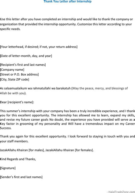 Thank You Note To Internship Free Thank You Letter After Internship Formxls