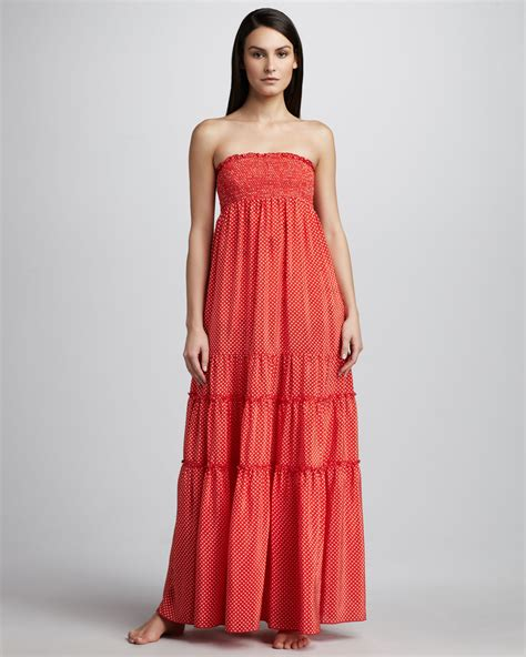 couture polkadot smocked maxi dress in lyst