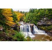 Mountain River Waterfall Autumn Green Pine Forest And