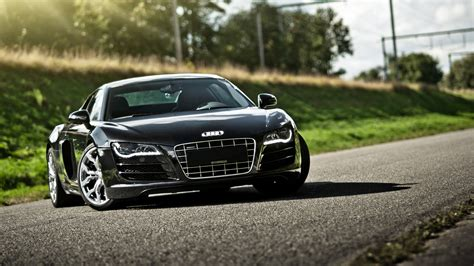 Wallpaper road, audi, audi r8, sports car, Black Audi R8 V10.