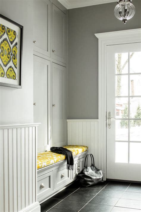 Hallway Mudroom With Built In Bench And Board And Batten